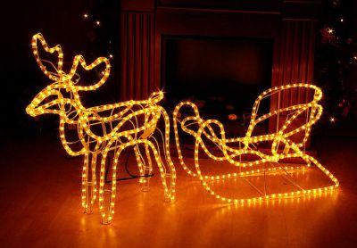 Świetlna dekoracja - renifer świąteczny, 140 cm, ciepła biel