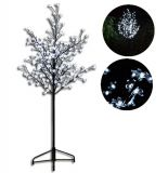 Dekoracyjne LED drzewo z kwiatami - 1,5 m, zimna biel