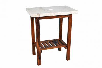 Stolik pod umywalkę DIVERO z tekowego drewna i marmurowym blatem