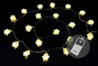 Lampki świąteczne na baterie - Śnieżynki - 20 LED – ciepły biały