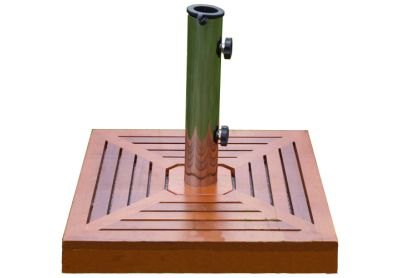Podstawa z granitu, stali nierdzewnej z drewnianą nakładką kwadratowa pod parasol 40 kg