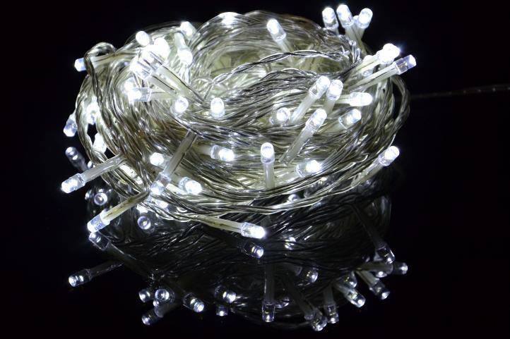 Lampki świetlne na łańcuchu 50 led - Lampki baterie zimna biel