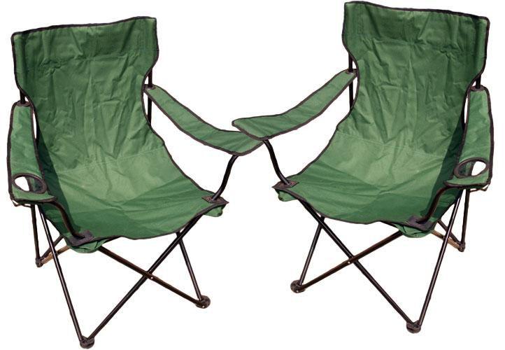 Komplet 2 x kampingowe krzesło składane z miejscem na napoje
