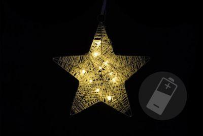 Gwiazda choinkowa dekoracyjna rattan 10 LED - bateria