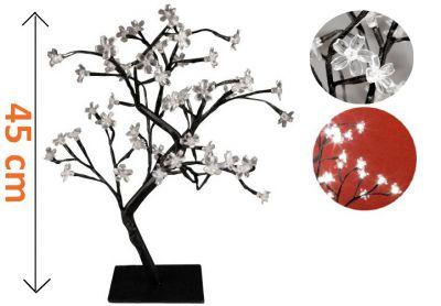 Dekoracyjne LED oświetlenie - drzewo z kwiatami - 45 cm, zimne białe
