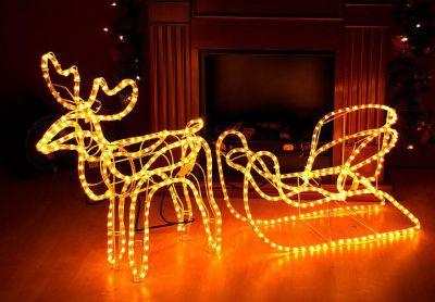 Świetlna dekoracja świąteczny renifer - 140 cm, ciepła biel