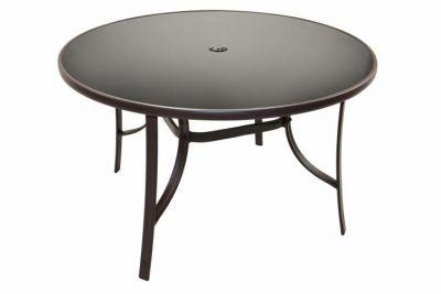 Stół ogrodowy ze szklaną płytą okrągły Bistro 120 cm