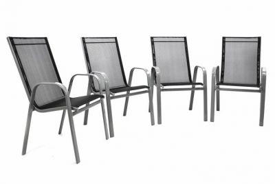 Komplet 4 x krzesła ogrodowe antracytowe