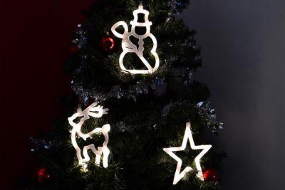 Zestaw świątecznych ozdób na okno LED bałwan- gwiazdka- renifer