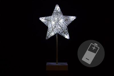 Świąteczna dekoracja - gwiazda na stojaku, 40 cm,10 LED