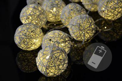 Łańcuch LED rattanowe kule ciepła biel 20 szt - lampki