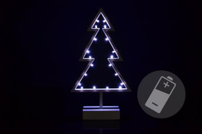 Choinka 20 LED chłodna biel - Dekoracja na baterie 38 cm