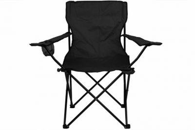 Składane krzesło kempingowe z uchwytem na kubek, czarne