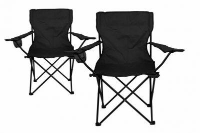 Zestaw na camping - 2x składane krzesło z uchwytem - czarne