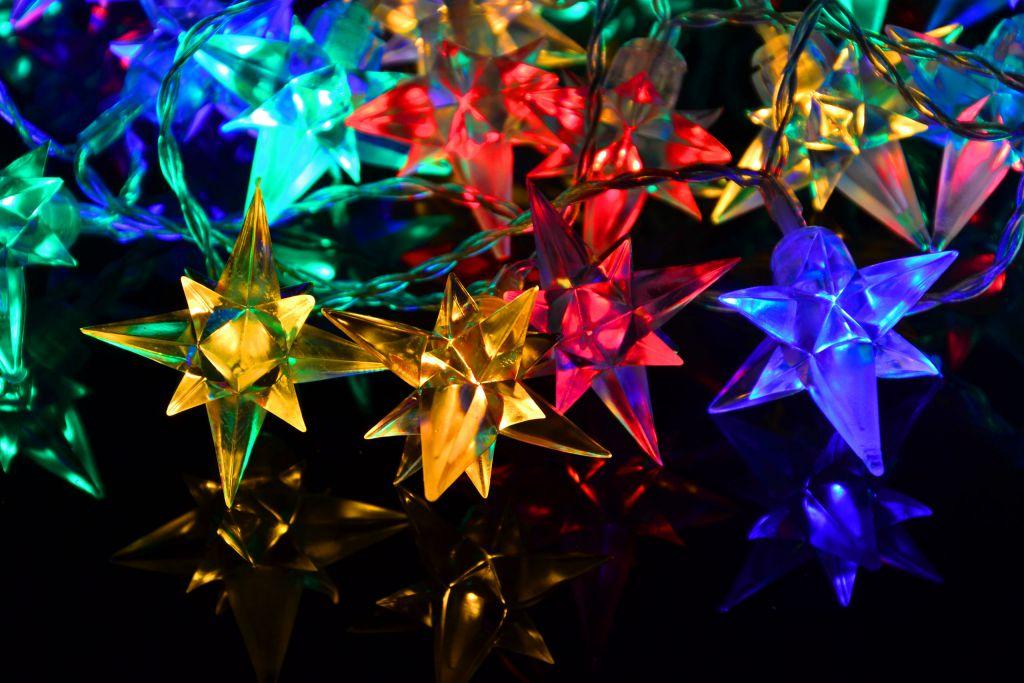 Lampki świąteczne ozdobne LED gwiazdki kolorowe 40 szt.