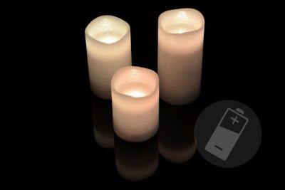 Dekoracyjny zestaw LED - 3 woskowe świeczki - biały
