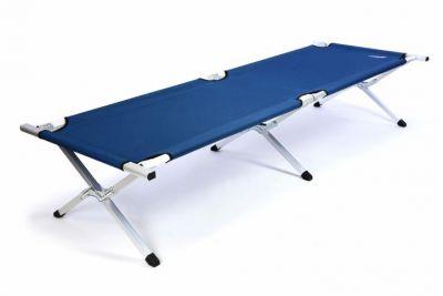 Łóżko polowe składane aluminiowe DIVERO 210 x 64 x 42 cm ciemnoniebieskie