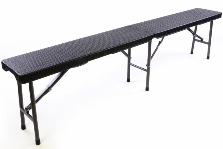 Ławka rattanowa rozkładana 180x25x43 cm