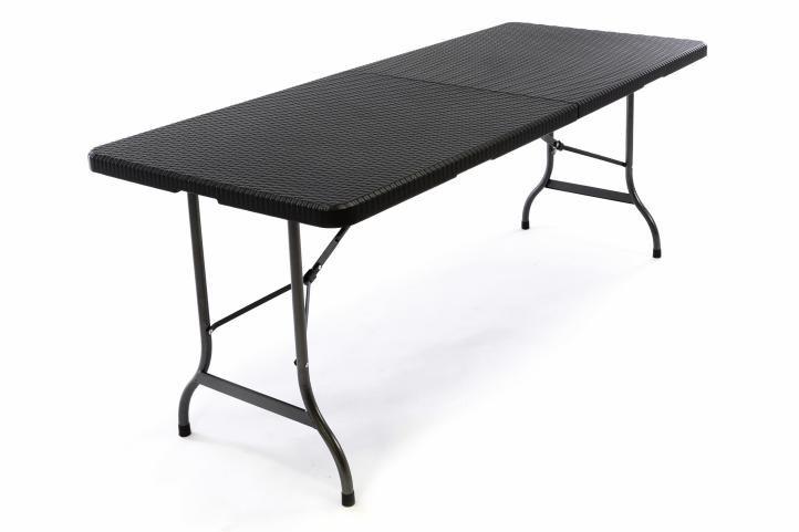 Składany stół ogrodowy rattanowy 180 x 75 cm czarny