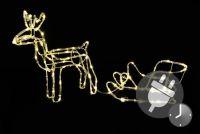 Świetlna dekoracja - świąteczny renifer , 80 cm, ciepła biel