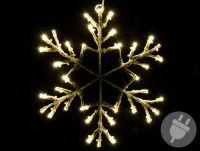 Świąteczna LED dekoracja - płatek śniegu, 30 cm, ciepła biel