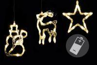 Świąteczna dekoracja na okno- gwiazda, bałwan, renifer, LED