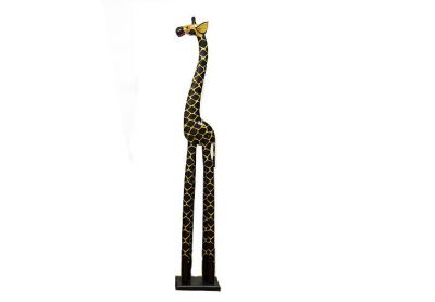 Drewniana Ghana żyrafa - ciemne drewno 28 x 18 x 150 cm