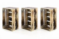 Zestaw 3 x drewniane pudełko VINTAGE DIVERO kolor brązowy - 44 x 28 x 19 cm