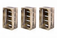 Drewniane skrzynki - zestaw 3 sztuk VINTAGE DIVERO kolor brązowy - 51 x 36 x 23 cm