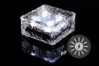 Zewnętrzne oświetlenie słoneczne - szklana kostka - biały 9,5 x 9,5 x 4,5 cm