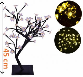 Dekoracyjne LED oświetlenie - drzewo z kwiatami, ciepła biel