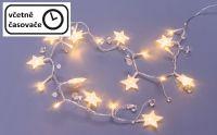 Łańcuch dekoracyjny 20 diod LED - gwiazdki i kryształy, ciep