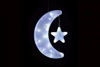 Księżyc LED - Dekoracja świąteczna - Świecący księżyc z gwiazdką