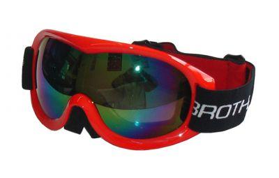 Gogle narciarskie BROTHER - podwójne szyby - czerwony