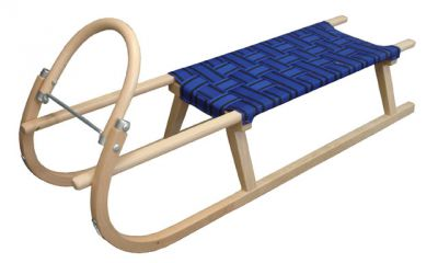 Sanie 125 cm drewniane - niebieskie