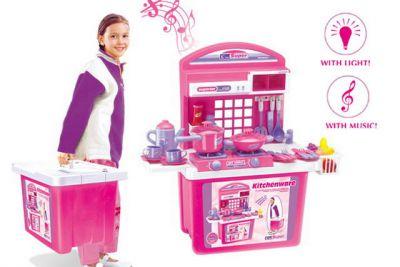 Kuchnia dziecięca G21 z akcesoriami w walizce różowa