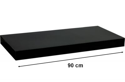 Półka ścienna STILISTA Volato wolnowisząca czarna z połyskiem, 90 cm