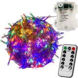 Świąteczne oświetlenie LED 10 m - kolorowe 100 LED + pilot Baterie