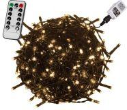Świąteczne oświetlenie LED 60 m - ciepłe białe 600 LED + pilot - zielony przewód
