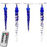 Świąteczne oświetlenie dekoracyjne - sople - 40 LED niebieski + pilot