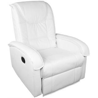 Fotel relaksacyjny z podnóżkiem biały