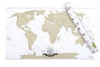 Ścieralna mapa świata - złota