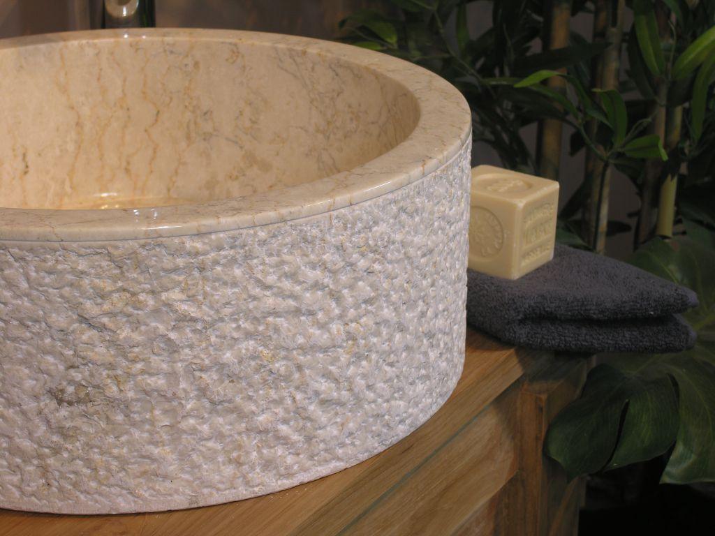 Umywalka z kamienia naturalnego MIRUM 509 Ø40 cm Cream