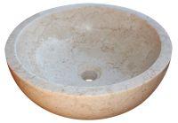 Umywalka kamień Gemma 501 polerowany marmur Ø50 cm  kolor kremowy