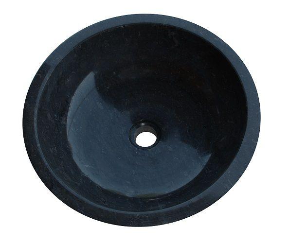 Umywalka z naturalnego kamienia Gemma 501 polerowany marmur Ø 50 cm Czarny
