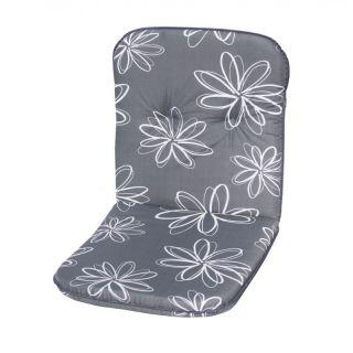 Poduszka na niskie krzesło SCALA - szara z kwiatami